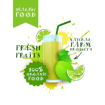 Fresh lime juice logo natural food farm products label over paint splash
