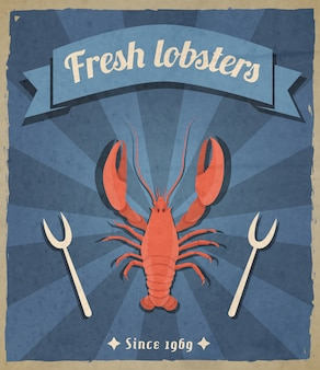 Fresh lobsters retro illustration