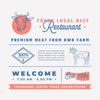 신선한 현지 쇠고기 레스토랑 표지판, 제목, 비문 및 메뉴 장식 요소 집합입니다.