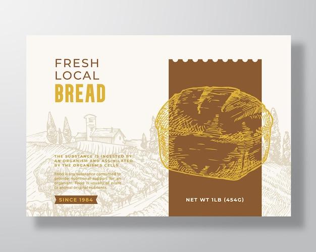 新鮮な地元のパンのラベルテンプレート。抽象的なベクトルパッケージデザインのレイアウト。手描きのサワードウのパンと田園風景の背景を持つモダンなタイポグラフィバナー。孤立。