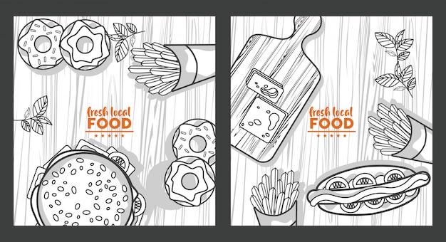 Рисунок свежей местной еды в деревянном столе