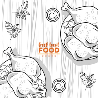 Fresh local food drawing in table wooden table