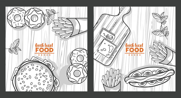 Fresh local food drawing in wooden table