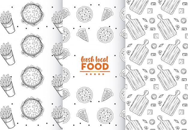 Fresh local food seamless patterns