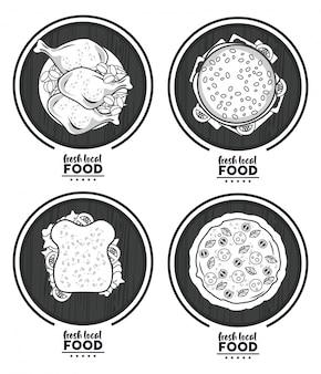 Свежая местная еда, с множеством вкусных фаст-фудов