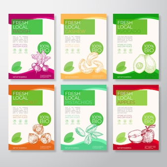 Fresh local fruit and nut labels packaging