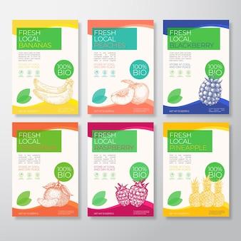 Fresh local fruit packaging labels set