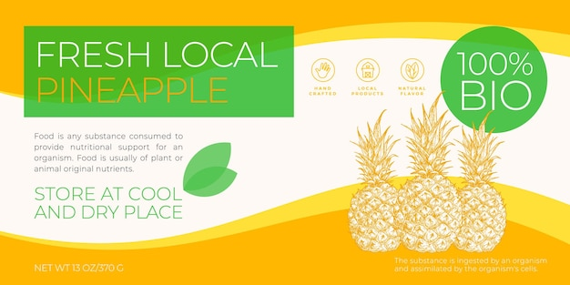 Fresh local fruits label template abstract vector packaging horizontal design layout modern typograp...