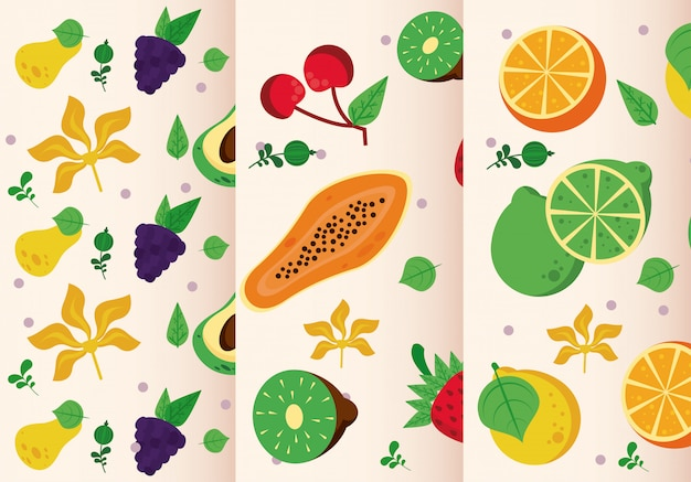 Fresh local fruits set of seamless patterns