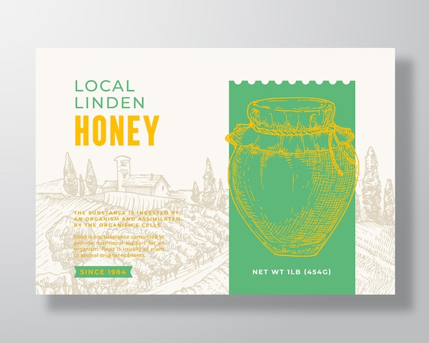 Fresh local honey label template abstract vector packaging design layout modern typography banner wi...