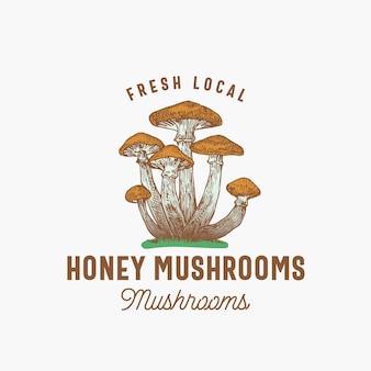 Fresh local mushrooms emblem template hand drawn colorful honey mushrooms