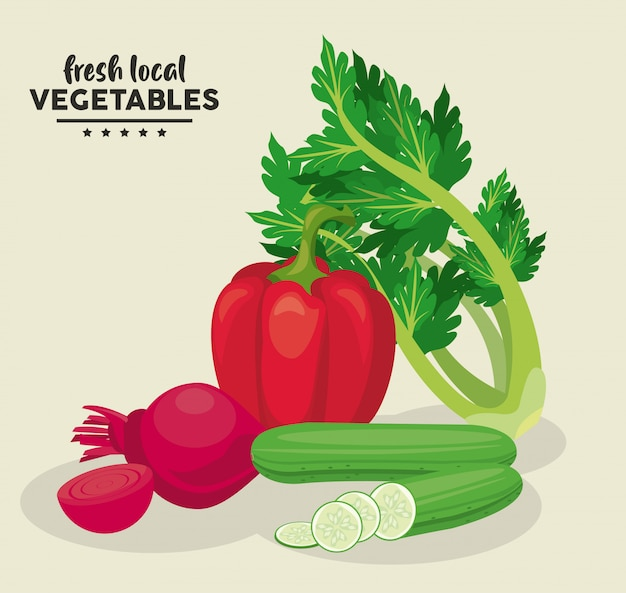 Fresh local vegetables illustration