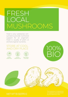 Fresh local vegetables label template abstract vector packaging design layout modern typography bann...