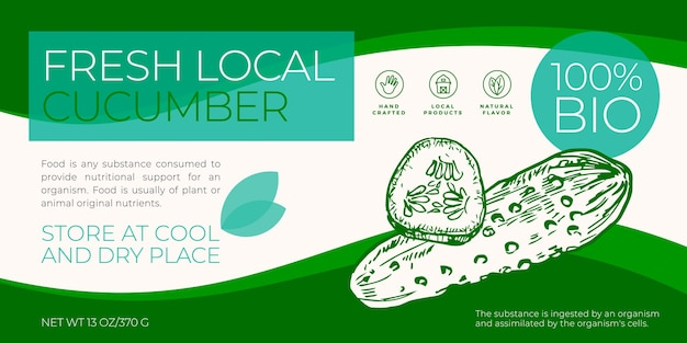 Fresh local vegetables label template. abstract vector packaging horizontal design layout. modern typography banner with hand drawn cucumbers sketch silhouette background. isolated.