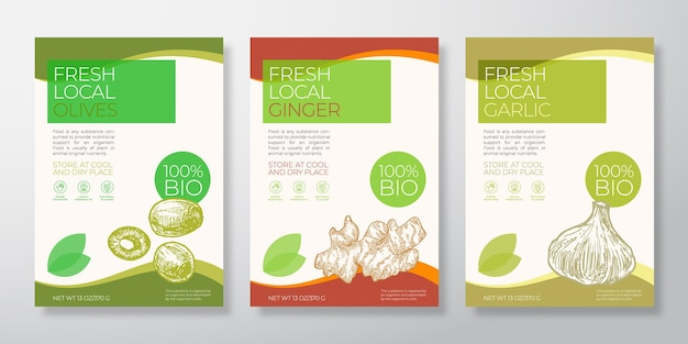 Fresh local vegetables label templates set vector packaging design layouts collection typography ban...
