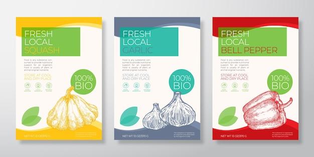 新鮮な地元の野菜のラベルテンプレートセットベクトルパッケージデザインレイアウトコレクションタイポグラフィ禁止...