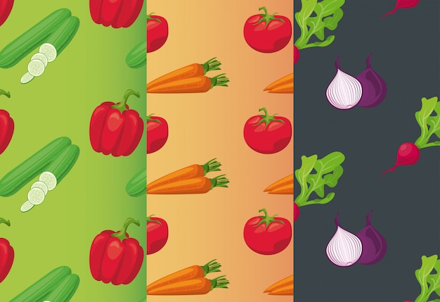 Fresh local vegetables in seamless pattern
