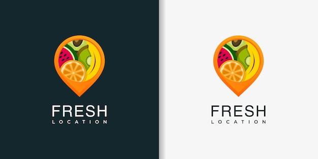 Расположение свежего логотипа с современным шаблоном дизайна в абстрактном стиле, свежие фрукты, расположение, булавка Premium векторы