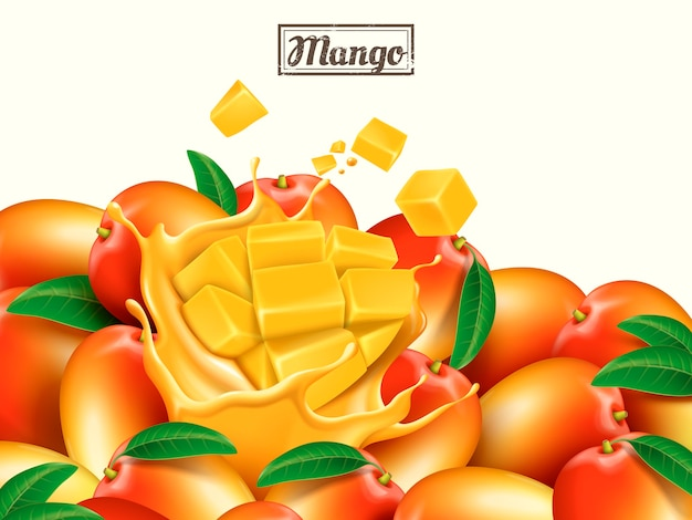 新鮮なマンゴーのデザイン要素の図