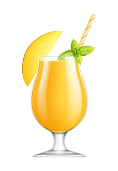 Fresh mango juice in glass with mint and cocktail straw on white realistic