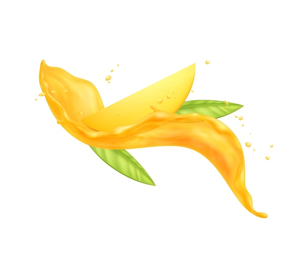 Fresh mango slice and green leaves in juice splashes realistic