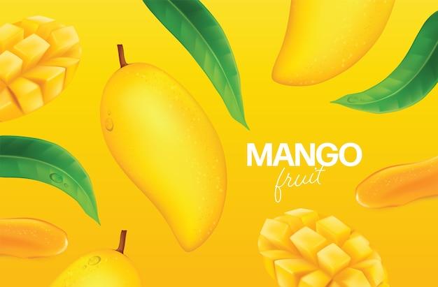 Свежее манго с кусочками и листьями иллюстрации