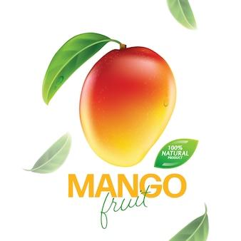 Свежий манго с кусочками и листьями иллюстрации