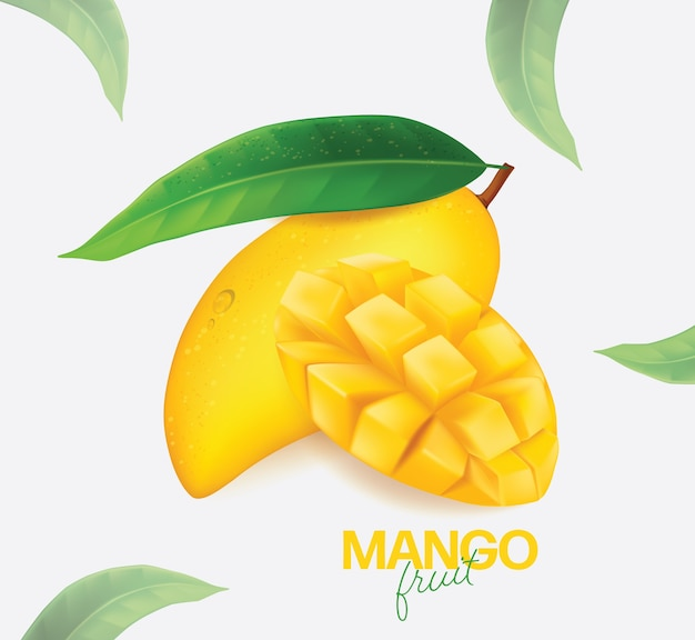 Fresh mango with slices and leaves illustration