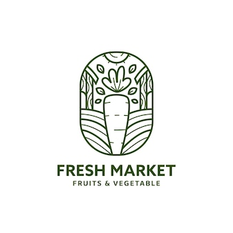 Fresh market logo badge in monoline line style with carrot and farm illustration