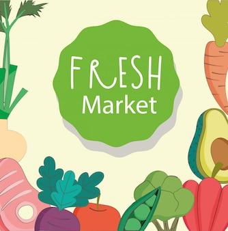 果物と野菜のイラストが新鮮な市場肉アボカドニンジン有機健康食品