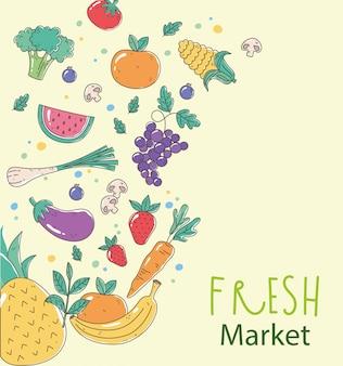 Свежий рынок органической здоровой пищи с фруктами и овощами плакат