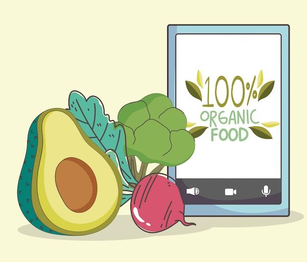 生鮮市場のスマートフォンアボカドビートとブロッコリー、果物と野菜の有機健康食品