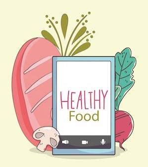 生鮮市場のスマートフォンパンビートキノコ、有機健康食品野菜イラスト