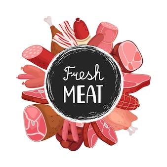 Свежее мясо баннер. мультфильм колбаски, мясо, курица. значок продовольственного рынка