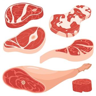 Свежее мясо мультфильм набор. часть стейков свинины и говядины изолированных на белой предпосылке.