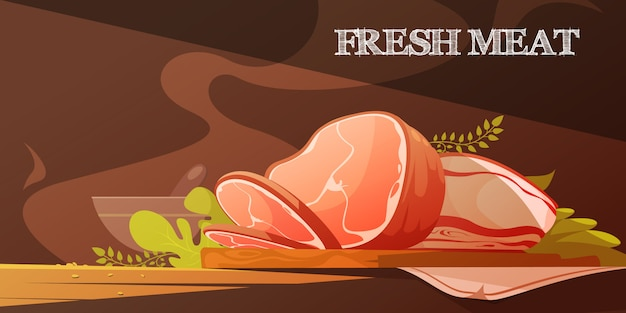 Fresh meat flat vector illustration in cartoon style with delicious slice of bacon