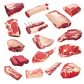 Fresh meat icons set in style flat. vector isoletad objects.