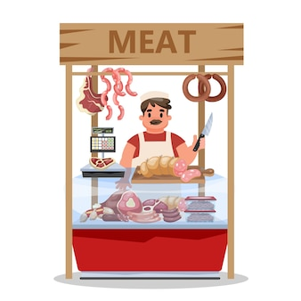 Fresh meat market. seller standing at the counter in apron Premium Vector