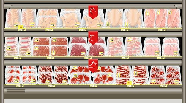 Свежее мясо в лотках на прилавке мясной лавки. замороженные и охлажденные продукты.