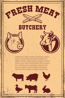 Fresh meat. poster template with meat cut on grunge background. vector illustration