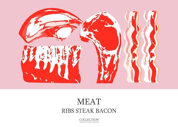 Свежее мясо. набор свежих мясных продуктов. векторная иллюстрация. антрекот, ребра, бекон. иллюстрация в плоском стиле с рисованной текстурой.