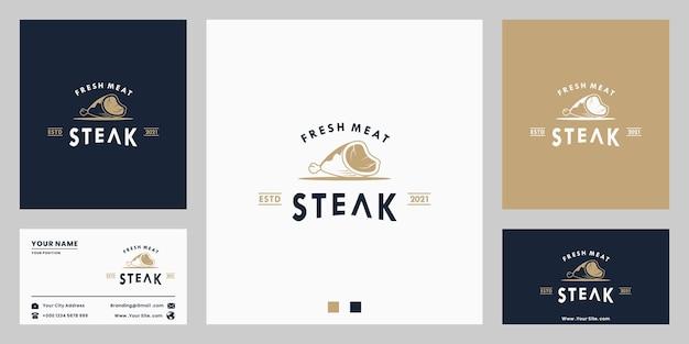 新鮮な肉、ステーキハウス、ビーフステーキ、レストランの名刺付きのロゴデザインヴィンテージ
