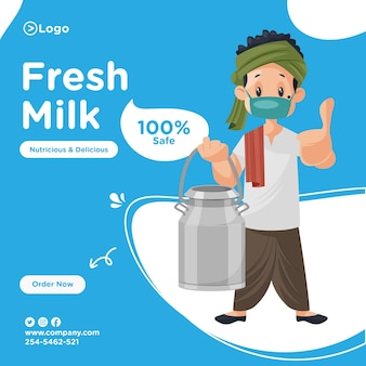 Fresh milk banner design with milkman wearing mask and showing thumbs up.