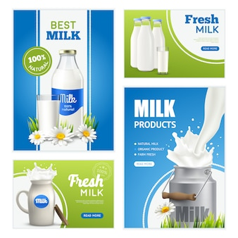 Fresh milk banners collection
