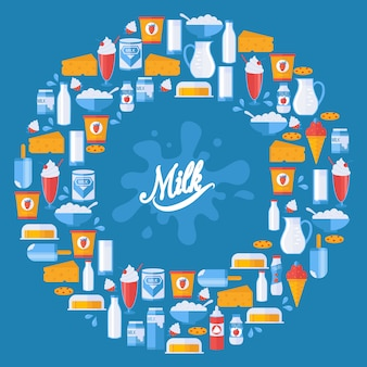 Fresh milk and dairy products in round frame composition,  illustration.