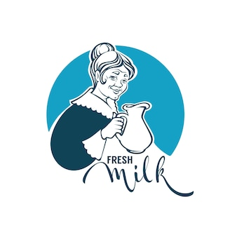 Fresh milk logo template  with  portrait of lovely grandmother, milk jug and lettering composition