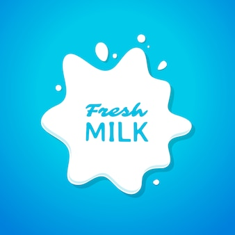 Fresh milk splash on blue