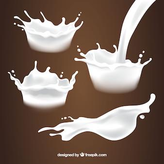 Коллекция свежих брызг молока в реалистичном стиле