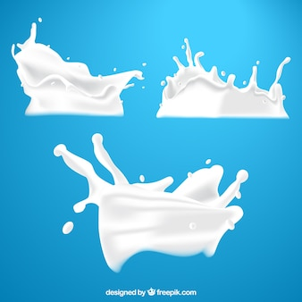 Fresh milk splashes collection in realistic style