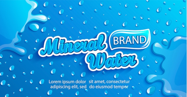 Fresh mineral water banner with drops and splash.